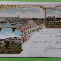 Litografie Turnu Severin  Port Vama Liceu, Circulata, Printata