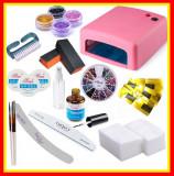 Kit Unghii False Gel Lampa UV, 4Sclipici Set Manichiura Tipsuri, Pensule, Buffer