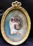 Tablou miniatura, Nud femeie in oglinda, tablou cu rama decorativa model