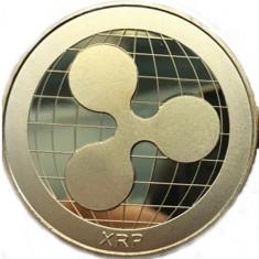 Moneda Suvenir Ripple XRP, diametru 40 mm, Auriu