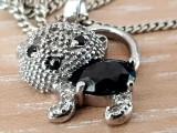 PISICA - medalion - pandantiv si lantisor argint 925 - onix si zirconiu briliant