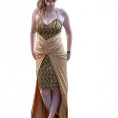 Rochie lunga de seara, eleganta , tinereasca aurie, 36, 38, 40, Auriu