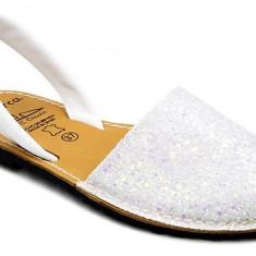 Sandale Dama Avarca C Cortuno Menorquinas Albe Glitter din Piele