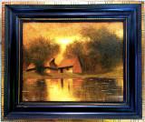 Tablou peisaj cu lac  Szepesi Kuszka Jeno, Peisaje, Ulei, Impresionism