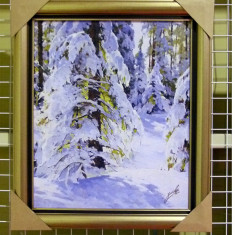 Tablou pictat manual pe panza in ulei Peisaj Iarna A-191, Natura, Realism