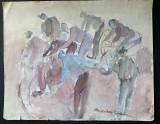 Tablou - acuarela pe carton - semnat Magdalena Radulescu, Scene gen, Altul