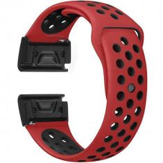 Curea ceas Smartwatch Garmin Fenix 3 / Fenix 5X, 26 mm iUni Silicon Sport Rosu-Negru