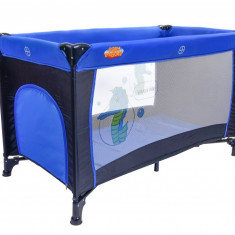 Patut Pliabil Portabil pentru Copii cu Intrare Laterala si Roti + Saltea si Plasa Insecte, Culoare Albastru