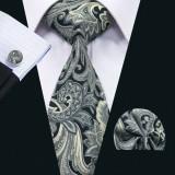 Set cravata + batista + butoni matase naturala model negru 1352
