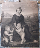 """""""Madonna del Prato"""" de Raphael, gravură de Joseph Steinmüller - raritate"""