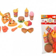 Set De Joaca Bucatarie Fast Food Globo Wtoy Alimente Cu Velcro 15 Piese