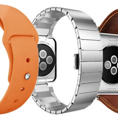 Set 2+1 Gratis, Curele Apple Watch iUni 38 mm Piele Vintage Brown, Otel Inoxidabil Silver Link Bracelet, Silicon Orange