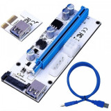 Riser PCI iUni V008S, PCI-E 1X - 16X, cablu 6 pini, USB 3.0, mining BTC, ETH