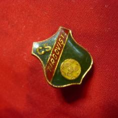Insigna veche de Fotbal- CS Targoviste , metal si email ,h=1,7cm