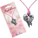 Colier roz - pandantiv inimă cu aripi împăturite
