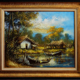 Case traditionale de pescari, pictura originala semnata Ion VOINEAGU, Peisaje, Ulei, Impresionism
