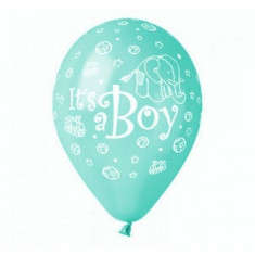 Baloane baietel Its A Boy din latex Aqua 32cm inscriptionate set 20 buc