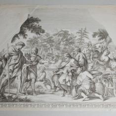 Gravura veche scena mitologica sec 17