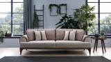 Canapea extensibila tapitata cu stofa, 3 locuri Mira Bej, l244xA100xH78 cm