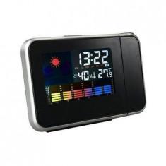 Ceas Procart KH-0123 LED cu proiector ora Higrometru Termometru Calendar Alarma LCD 3.7 inch Negru