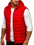 Vestă roșie matlasată cu glugă Bolf HDL88003