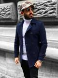 Palton bleumarin de iarnă două rânduri de nasturi guler înalt Bolf 0009