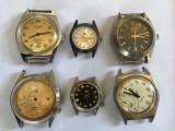 Ceasuri mec. de firma, defecte, mecanisme complecte(6 buc. )