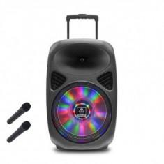 Boxa portabila 15'' 2x microfon fara fir, Bluetooth, USB, 200W RMS