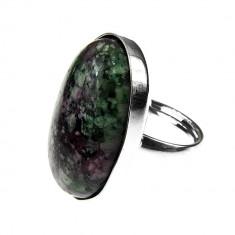 Inel argint reglabil masiv cu rubin zoisit 25x18 MM