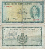 1954 , 10 francs ( P-48a.3 ) - Luxemburg