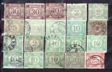 Romania 1881 - 99 Taxa de plata fara filigran si cu filigran