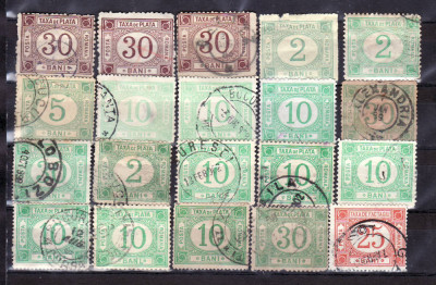 Romania 1881 - 99 Taxa de plata fara filigran si cu filigran foto