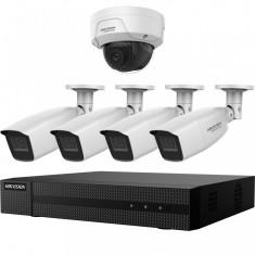 Kit HikVision cu 4 camere analogice 4MP + o camera IP 2 MP IR 30 40m