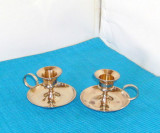 Pereche sfesnice alama prelucrata si lustruita, placate cu aur 24K - Suedia