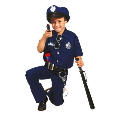 Costum Politist baieti 4-14 ani, set 4 piese carnaval, albastru inchis foto