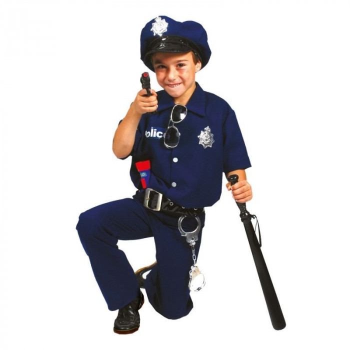 Costum Politist baieti 4-14 ani, set 4 piese carnaval, albastru inchis