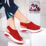 Sandale Piele Codina rosii cu talpa ortopedica -rl