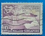 MALAYA SINGAPORE, 1949, UPU, STAMPILATA