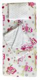 Cumpara ieftin Set 3 piese de iarna paturica cu cearsaf si pernuta pentru pat 120x60 cm Deseda Bufnite roz