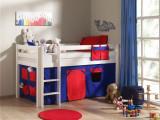 Pat etajat din lemn de pin, cu spatiu de joaca pentru copii Pino Domino Alb, 200 x 90 cm