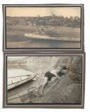 C1861 2 poze baieti cu barca cu vasle 1920 Transilvania interbelica