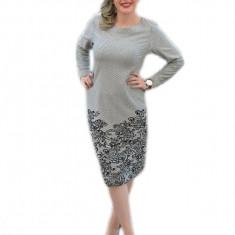 Rochie casual, cu maneci lungi, de culoare gri