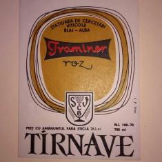 Etichete romanesti vin / eticheta veche romaneasca Traminer Roz Tarnave Blaj '70