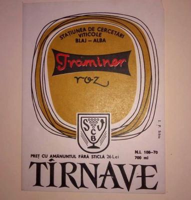 Etichete romanesti vin / eticheta veche romaneasca Traminer Roz Tarnave Blaj '70 foto