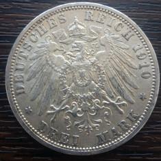 (A720) MONEDA DIN ARGINT GERMANIA, PRUSIA - 3 MARK 1910, LIT. A, WILHELM II