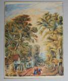 Acuarela veche peisaj cca 1850
