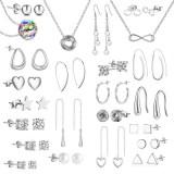 Set 24 bijuterii Philip Jones dama, argintii, cutie bijuterii tip calendar inclusa