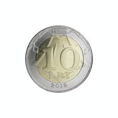 Moldova 10 Lei 2018  - 25.3 mm, KM-New UNC !!!