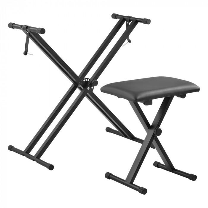 [en.casa] Set suport pentru claviatura ACKS-3701 cu scaun pentru pian ACKS-3702, 25 Kg, metal, negru, cu inaltime si latime reglabile HausGarden Leisu