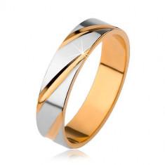 Verighetă lucioasă cu crestături oblice, model cu două nuanţe - Marime inel: 55